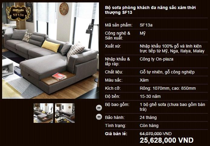 Bộ sofa phòng khách đa năng màu xám thời thượng SF13
