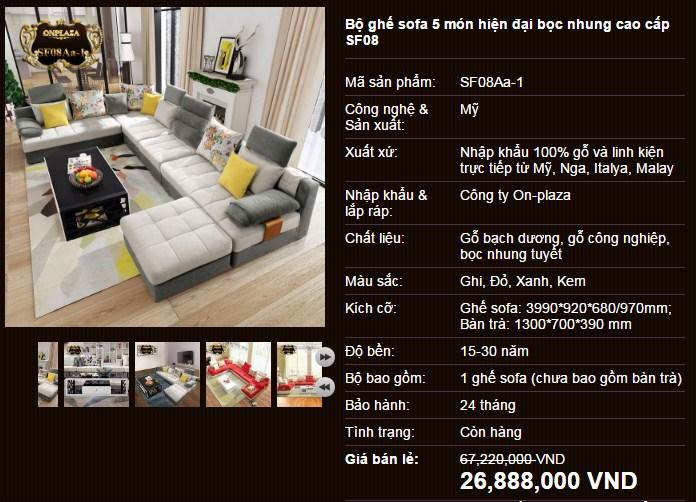 Sofa phòng khách đẹp giá rẻ SF08