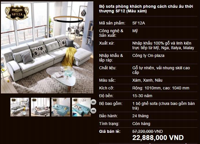 Bộ sofa phòng khách châu âu thời thượng SF12 với màu xám đẹp mắt